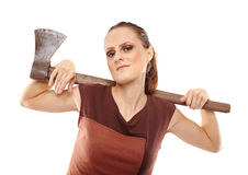 Crazy girl with axe Stock Image
