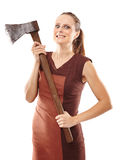 Crazy girl with axe. Halloween image with a crazy young woman  holding a rusty old ax Royalty Free Stock Photo
