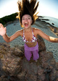 Crazy girl on the beach Royalty Free Stock Photos