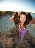 Crazy girl on the beach Royalty Free Stock Photo