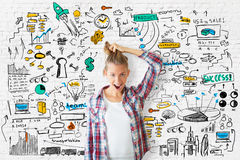 Crazy girl with business sketch Royalty Free Stock Image