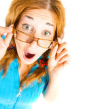 Crazy girl in glasses isolated Stock Photo