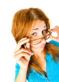Crazy girl in glasses isolated Royalty Free Stock Photo