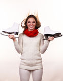 Crazy girl with ice skates. Royalty Free Stock Image