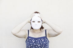 Crazy girl with mask Royalty Free Stock Photography
