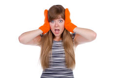Crazy girl with orange mittens Royalty Free Stock Images