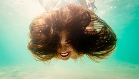 Crazy Girl Snorkeling royalty free stock images