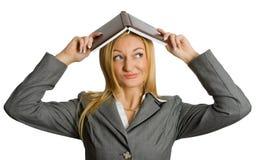 Crazy girl  under  roof Stock Photos