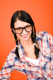 Crazy girl wear nerd glasses smiling Royalty Free Stock Images