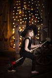 Crazy Girl witch with  broom . childhood Halloween Stock Images