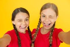 Crazy girls. selfie for blogging. positive emotions. selfie girls. small girls making selfie on phone. having fun. Sisterhood and friendship. happy childrens royalty free stock photo