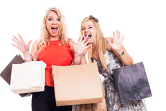 Crazy girls shopping Royalty Free Stock Images