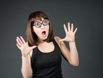 Crazy girls. Young nerd girl brunette in funny glasses. Royalty Free Stock Images