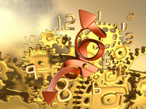 Crazy golden clockwork. Surreal 3d illustration. Crazy time. Close-up fantasy golden clockwork. Surreal and conceptual 3d illustration Royalty Free Stock Photos