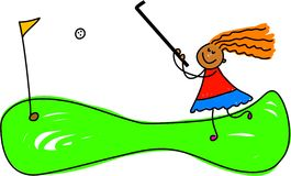 Crazy golf kid vector illustration