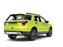 Crazy green modern SUV car - back view. Isolated on white background vector illustration