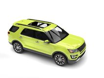 Crazy green modern SUV car - top down shot. Isolated on white background vector illustration