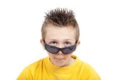 Crazy Grimacing Child With Sunglasses Stock Photo