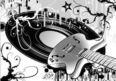Crazy guitar grunge style. Abstract musci guitar grunge style Royalty Free Stock Images