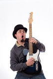 Crazy Guitarist in Tophat Making Funny Face Stock Photos