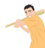 Crazy guy with a bat. Crazy aggressive guy with a bat. Vector illustration Royalty Free Stock Photos