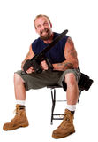 Crazy guy with chainsaw Royalty Free Stock Photography