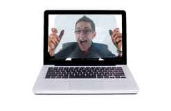Crazy guy in a laptop Royalty Free Stock Image