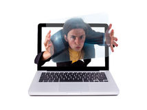Crazy guy in a laptop Royalty Free Stock Photo