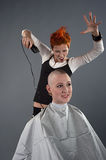Crazy hairdresser Royalty Free Stock Photo