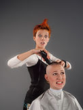 Crazy hairdresser Royalty Free Stock Image