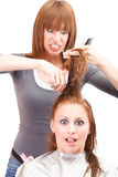 Crazy hairdresser Stock Photo