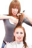 Crazy hairdresser Stock Photo