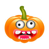 Crazy Halloween Pumpkin Cartoon Character with eyes and mouth. vector Illustration Isolated On White background. Stock Images