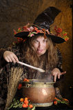 Crazy halloween witch. Halloween witch cooking in a copper, making faces Royalty Free Stock Photography
