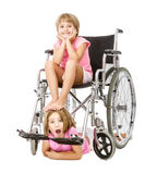 Crazy handicap image for a couple of children Stock Photo
