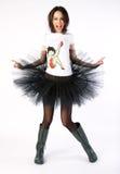 Crazy happy dancer in boots