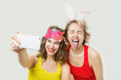 Crazy happy girls party Stock Images