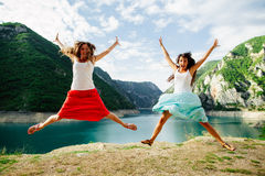 Crazy happy jump in mountains Stock Image