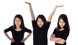 Crazy Happy Mad. A young girl expresses various expressions of her personality royalty free stock photo