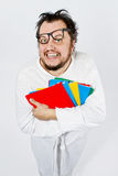 Crazy happy nerd. Mad guy Royalty Free Stock Photo
