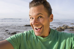 Crazy happy selfie pic at beach Royalty Free Stock Image