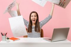Free Crazy Happy Woman Throwing Up Paper Documents While Working On Project, Sitting At Office With Laptop, Going On Vacation Stock Images - 139848154
