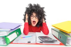Crazy with hard work stock images