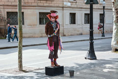 Crazy Hatman. Street artist at Ramblas in Barcelona, Spain Royalty Free Stock Images
