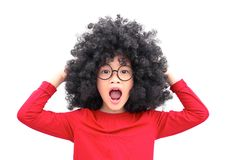 Crazy Chinese afro head stock image