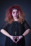 Crazy horror woman meditating Royalty Free Stock Photo