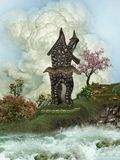 Crazy house. In a fantasy landscape Royalty Free Stock Image