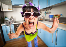 Crazy housewife Royalty Free Stock Photos