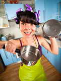Crazy housewife stock image
