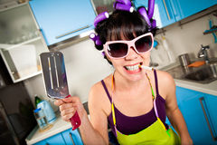 Crazy housewife Royalty Free Stock Image